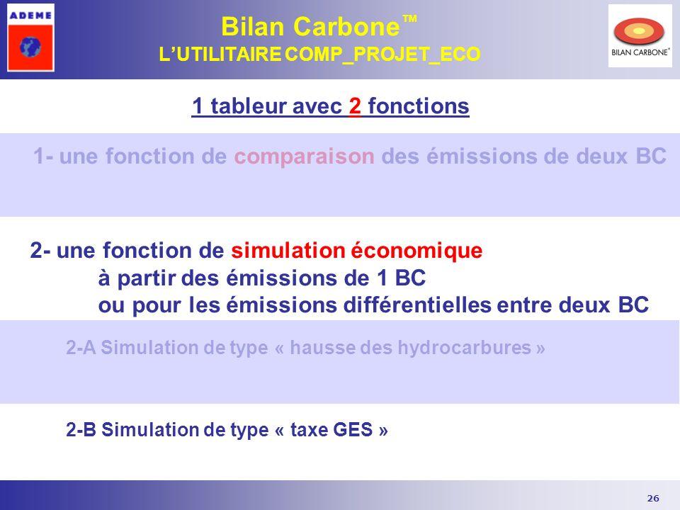 26 Bilan Carbone LUTILITAIRE COMP_PROJET_ECO 1 tableur avec 2 fonctions 1- une fonction de comparaison des émissions de deux BC 2- une fonction de sim