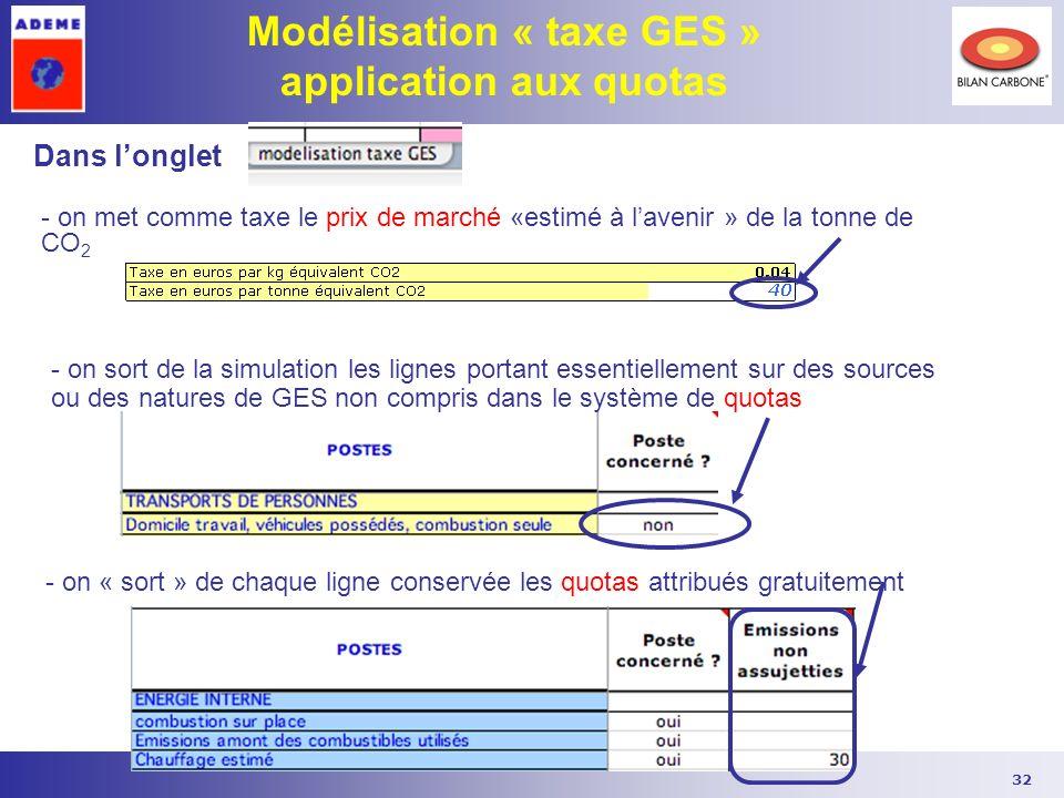 32 Modélisation « taxe GES » application aux quotas - on sort de la simulation les lignes portant essentiellement sur des sources ou des natures de GE