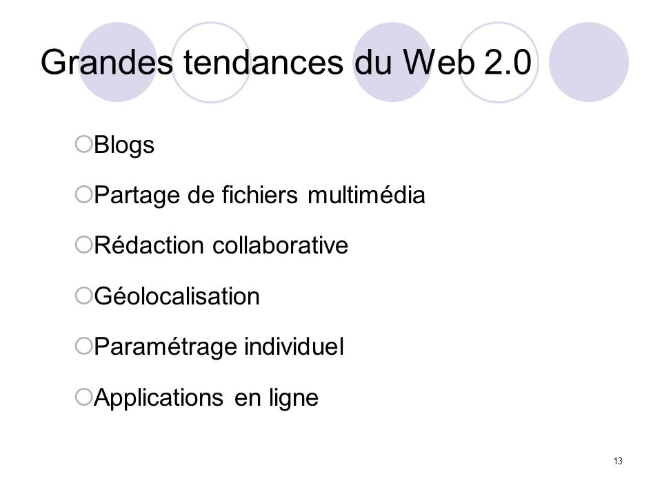 Grandes tendances du Web 2.0 Blogs Partage de fichiers multimédia Rédaction collaborative Géolocalisation Paramétrage individuel Applications en ligne