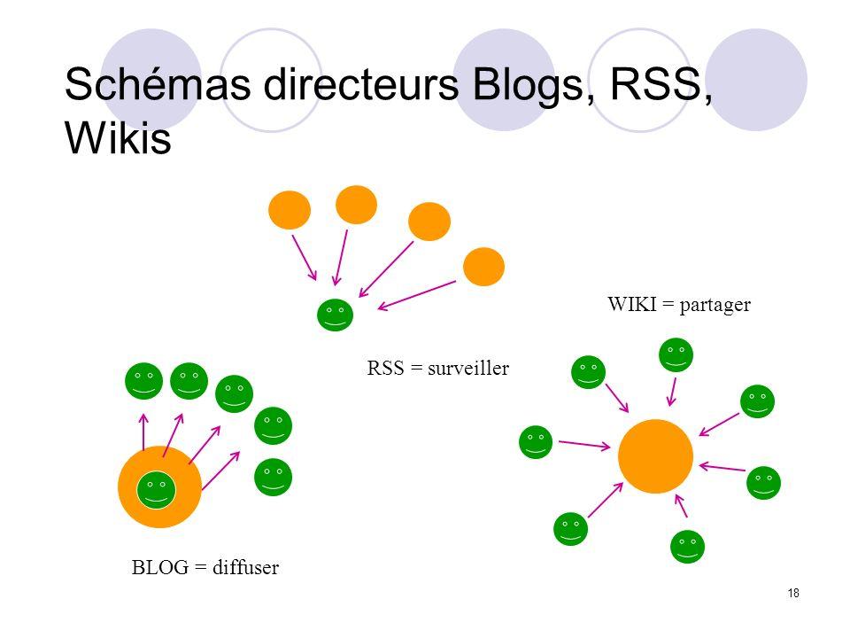 18 BLOG = diffuser WIKI = partager RSS = surveiller Schémas directeurs Blogs, RSS, Wikis