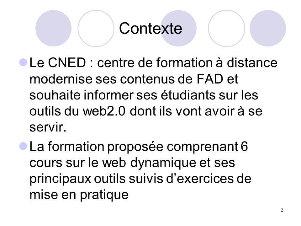 2 Contexte Le CNED : centre de formation à distance modernise ses contenus de FAD et souhaite informer ses étudiants sur les outils du web2.0 dont ils