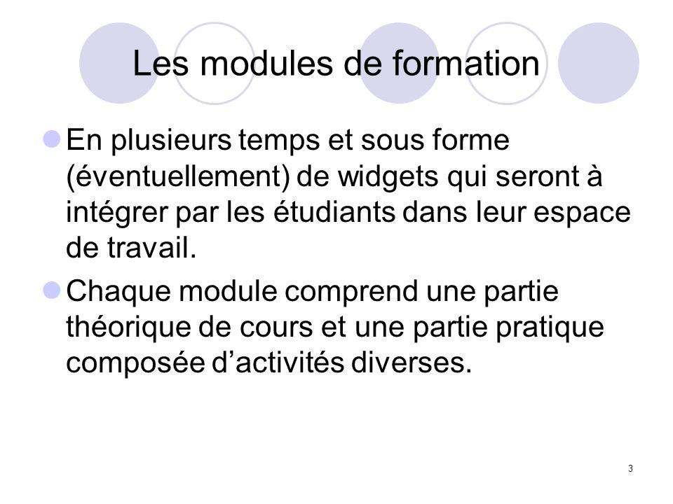 3 Les modules de formation En plusieurs temps et sous forme (éventuellement) de widgets qui seront à intégrer par les étudiants dans leur espace de tr