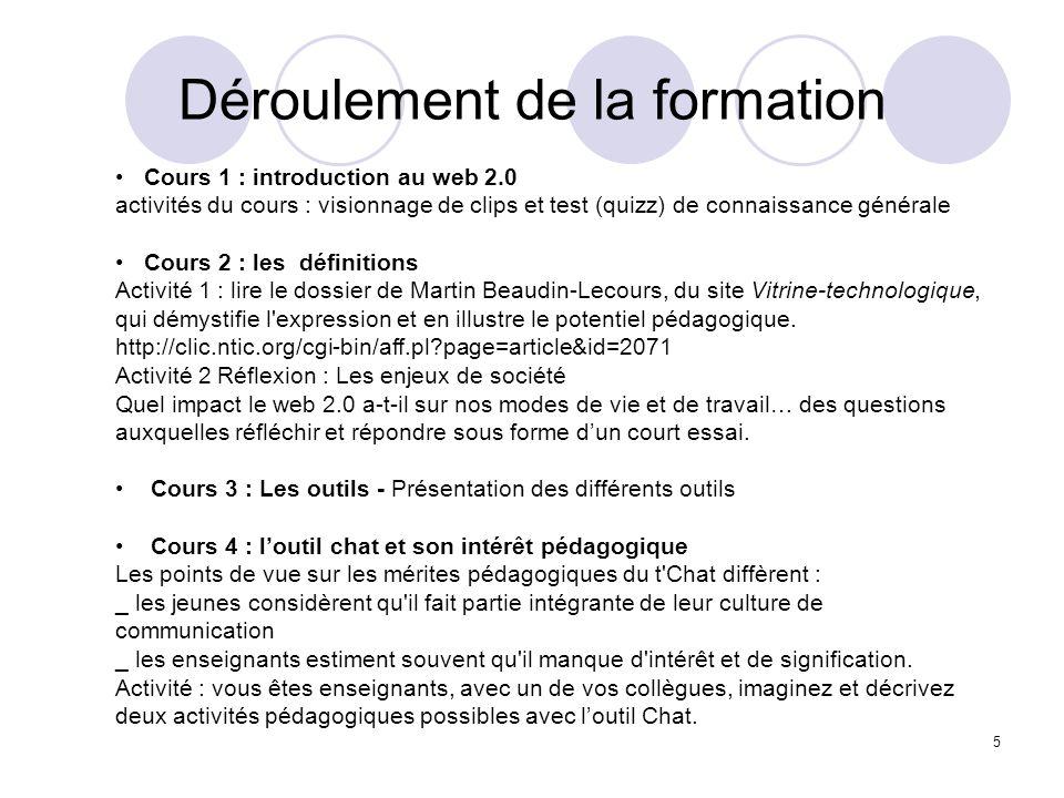 Déroulement de la formation 5 Cours 1 : introduction au web 2.0 activités du cours : visionnage de clips et test (quizz) de connaissance générale Cour
