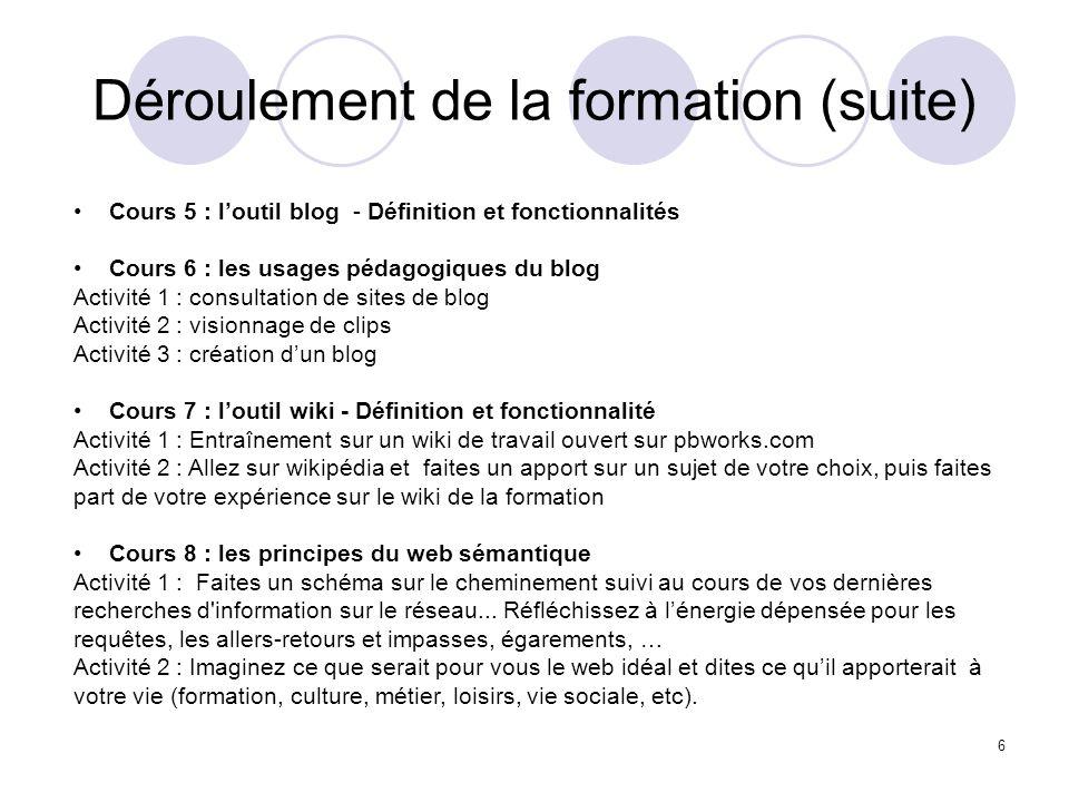Déroulement de la formation (suite) 6 Cours 5 : loutil blog - Définition et fonctionnalités Cours 6 : les usages pédagogiques du blog Activité 1 : con