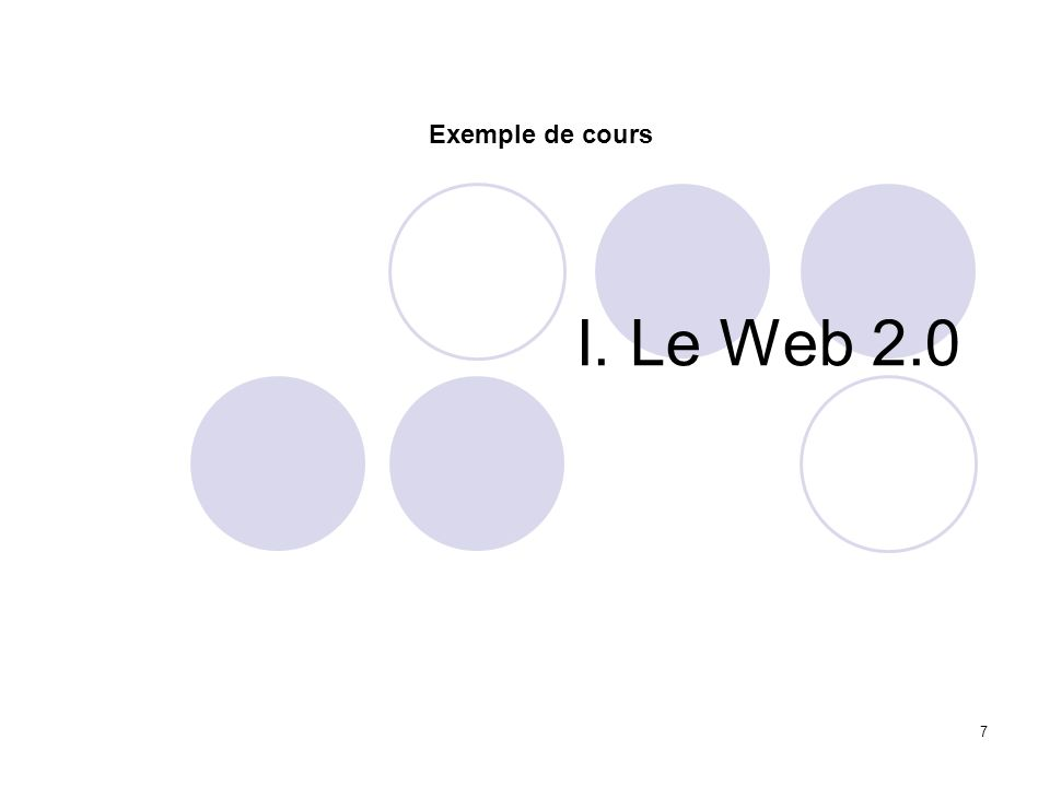 7 I. Le Web 2.0 Exemple de cours