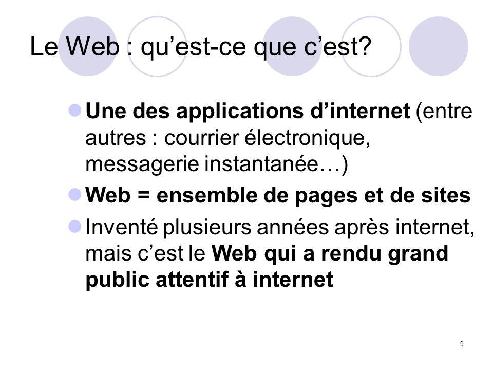 9 Le Web : quest-ce que cest? Une des applications dinternet (entre autres : courrier électronique, messagerie instantanée…) Web = ensemble de pages e
