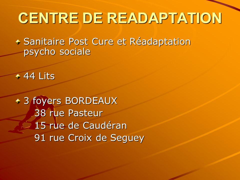 CENTRE DE READAPTATION Sanitaire Post Cure et Réadaptation psycho sociale 44 Lits 3 foyers BORDEAUX 38 rue Pasteur 38 rue Pasteur 15 rue de Caudéran 1