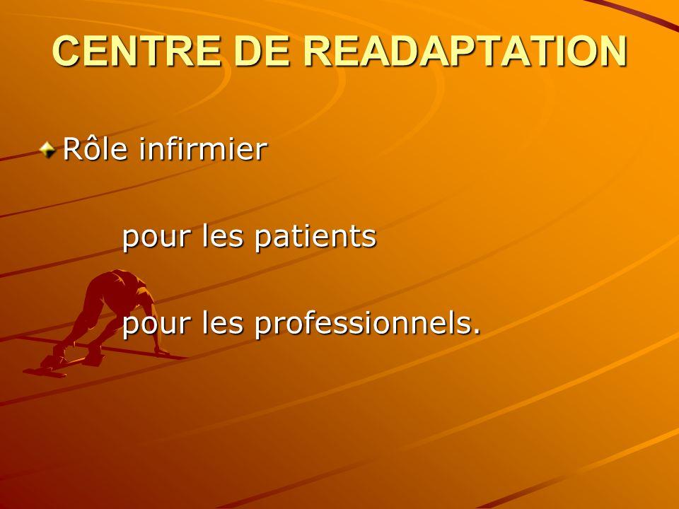 CENTRE DE READAPTATION Rôle infirmier pour les patients pour les patients pour les professionnels. pour les professionnels.