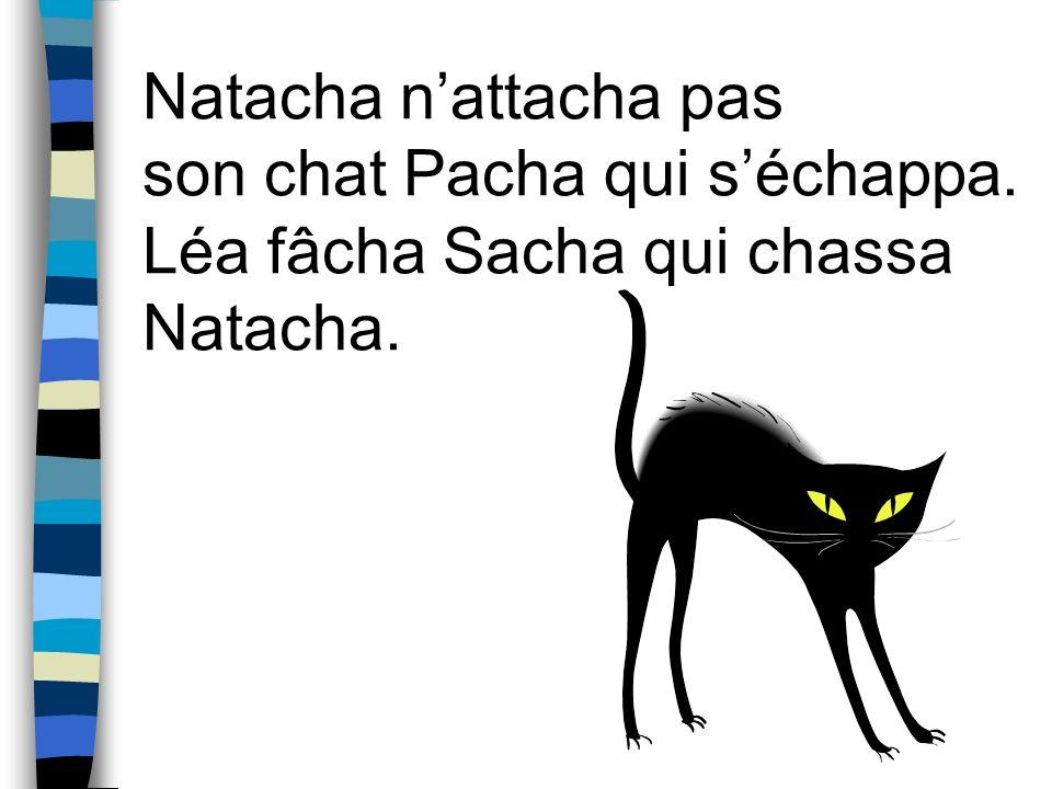 Natacha nattacha pas son chat Pacha qui séchappa. Léa fâcha Sacha qui chassa Natacha.