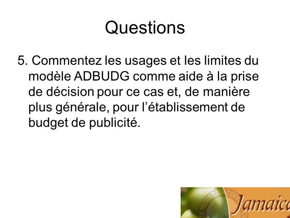 Questions 5. Commentez les usages et les limites du modèle ADBUDG comme aide à la prise de décision pour ce cas et, de manière plus générale, pour lét