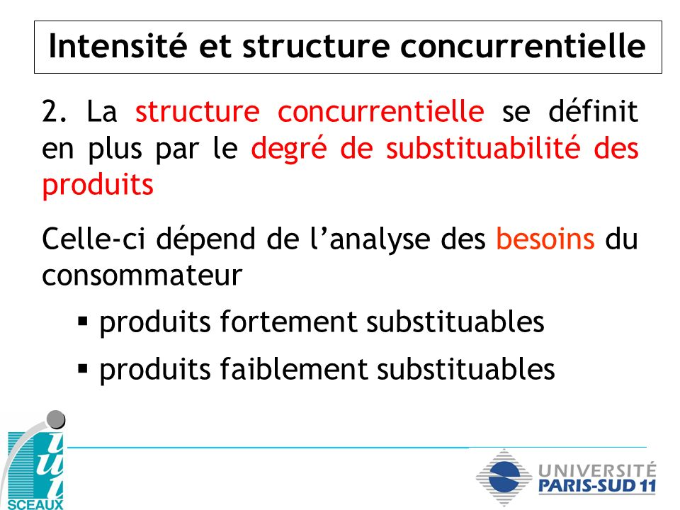 Intensité et structure concurrentielle 2. La structure concurrentielle se définit en plus par le degré de substituabilité des produits Celle-ci dépend