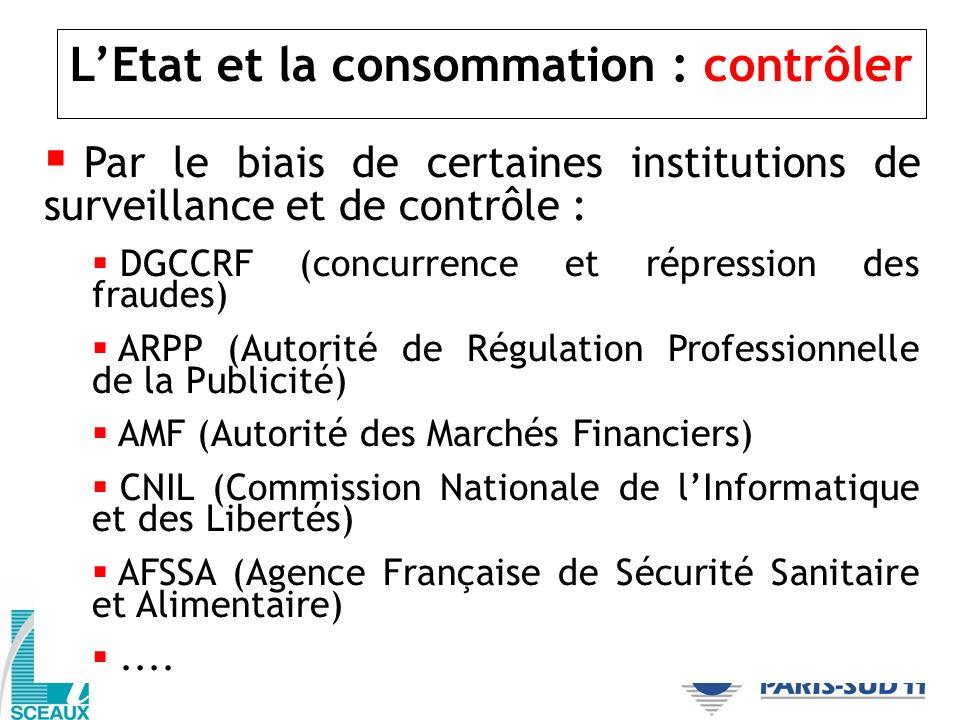 LEtat et la consommation : contrôler Par le biais de certaines institutions de surveillance et de contrôle : DGCCRF (concurrence et répression des fra