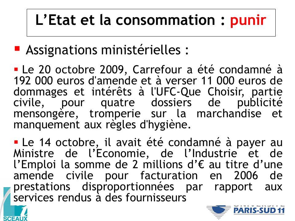 LEtat et la consommation : punir Assignations ministérielles : Le 20 octobre 2009, Carrefour a été condamné à 192 000 euros d'amende et à verser 11 00