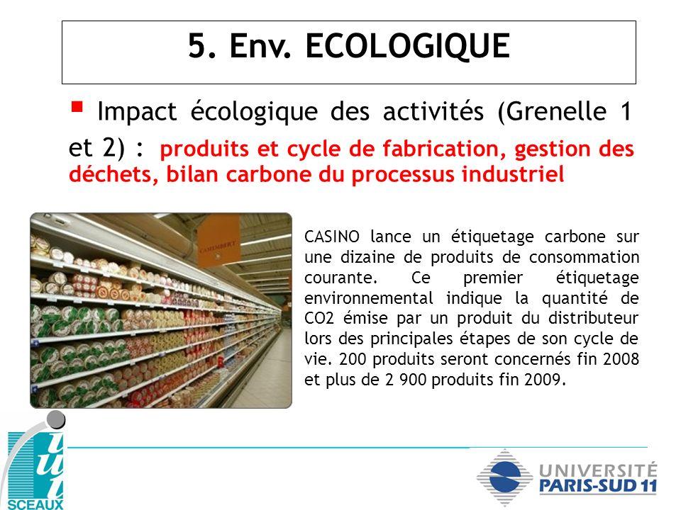 Impact écologique des activités (Grenelle 1 et 2) : produits et cycle de fabrication, gestion des déchets, bilan carbone du processus industriel 5. En