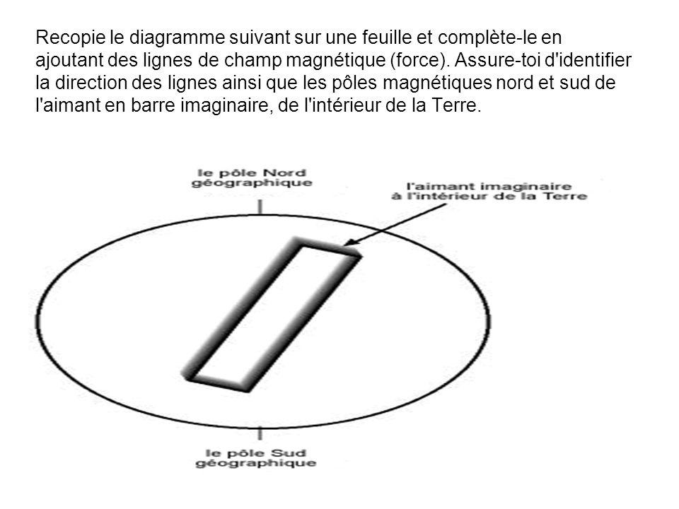 Recopie le diagramme suivant sur une feuille et complète-le en ajoutant des lignes de champ magnétique (force). Assure-toi d'identifier la direction d