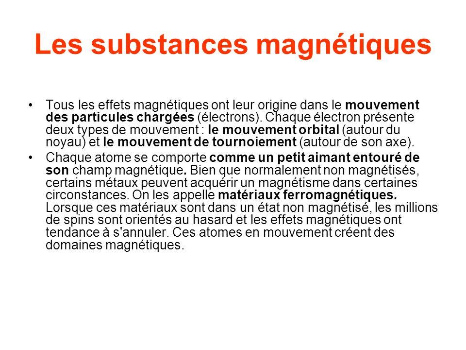 Les substances magnétiques Tous les effets magnétiques ont leur origine dans le mouvement des particules chargées (électrons). Chaque électron présent