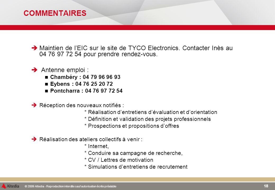 © 2009 Altedia - Reproduction interdite sauf autorisation écrite préalable 18 Maintien de lEIC sur le site de TYCO Electronics. Contacter Inès au 04 7