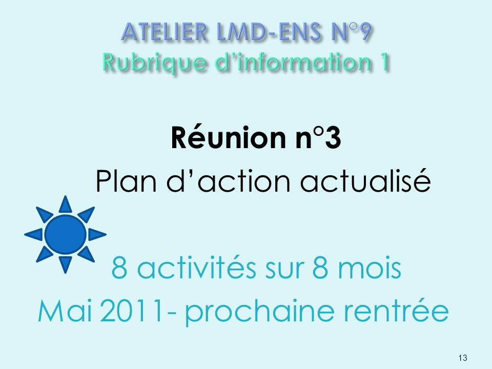 Réunion n°3 Plan daction actualisé 8 activités sur 8 mois Mai 2011- prochaine rentrée 13