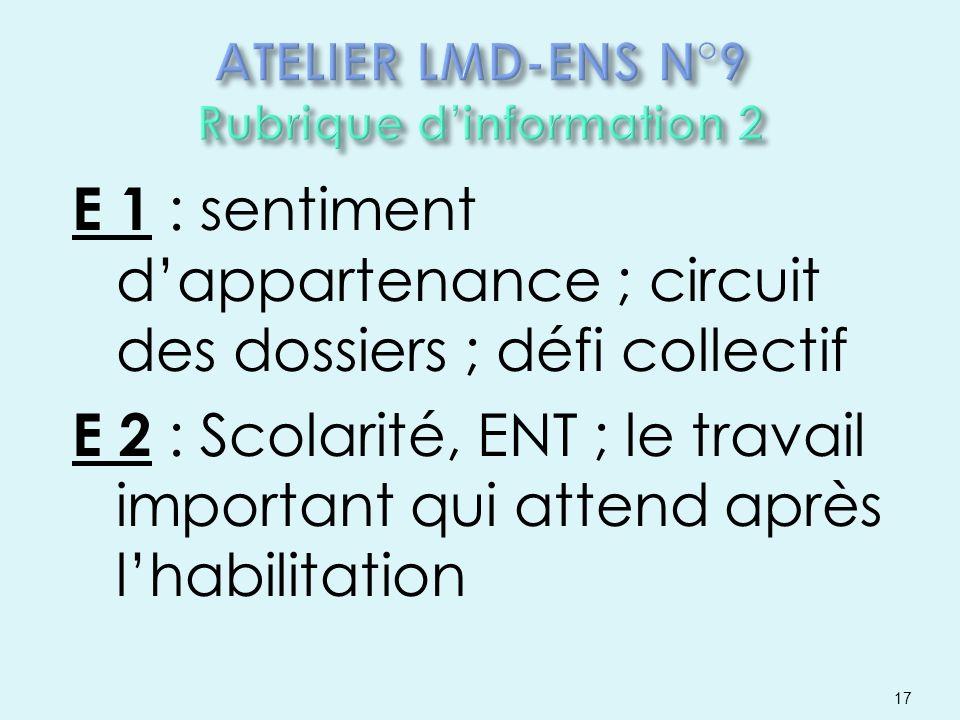 E 1 : sentiment dappartenance ; circuit des dossiers ; défi collectif E 2 : Scolarité, ENT ; le travail important qui attend après lhabilitation 17