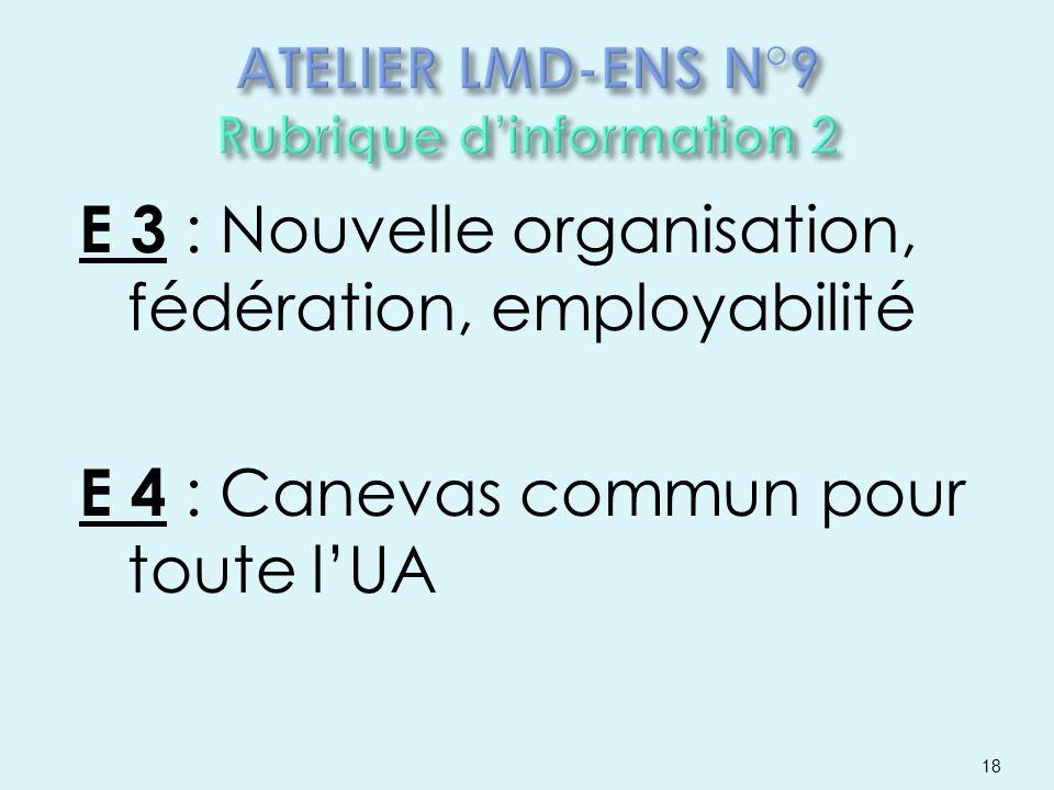 E 3 : Nouvelle organisation, fédération, employabilité E 4 : Canevas commun pour toute lUA 18