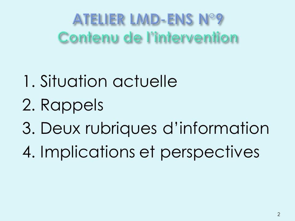 1. Situation actuelle 2. Rappels 3. Deux rubriques dinformation 4. Implications et perspectives 2
