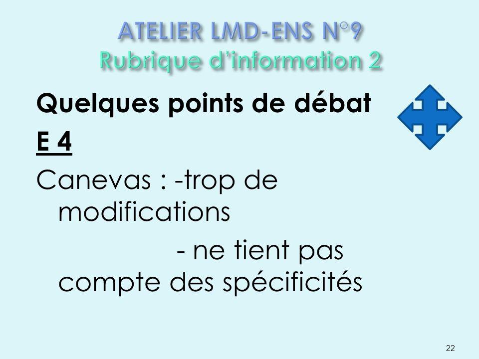 Quelques points de débat E 4 Canevas : -trop de modifications - ne tient pas compte des spécificités 22
