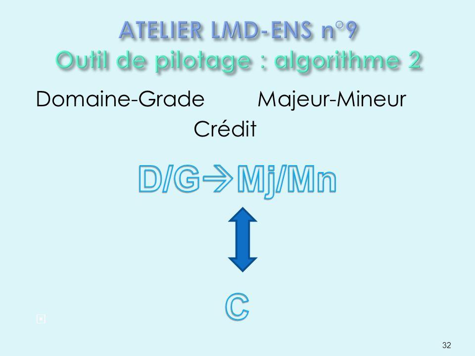 Domaine-Grade Majeur-Mineur Crédit 32
