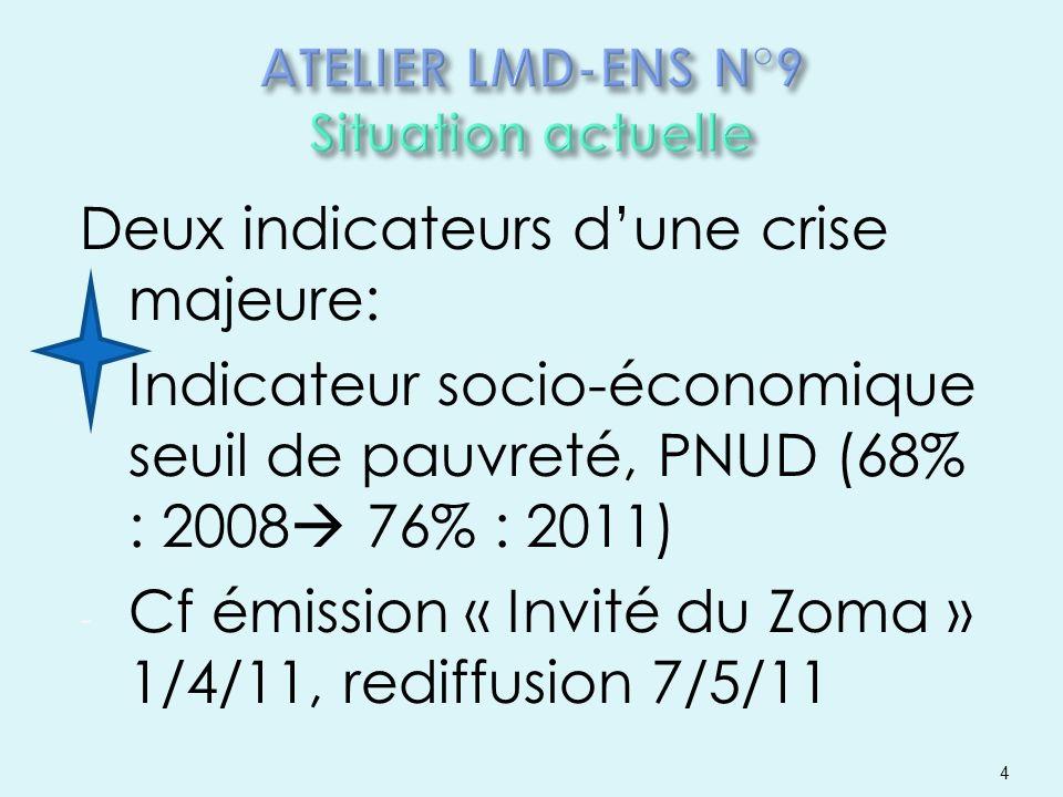 Deux indicateurs dune crise majeure: - Indicateur socio-économique seuil de pauvreté, PNUD (68% : 2008 76% : 2011) - Cf émission « Invité du Zoma » 1/