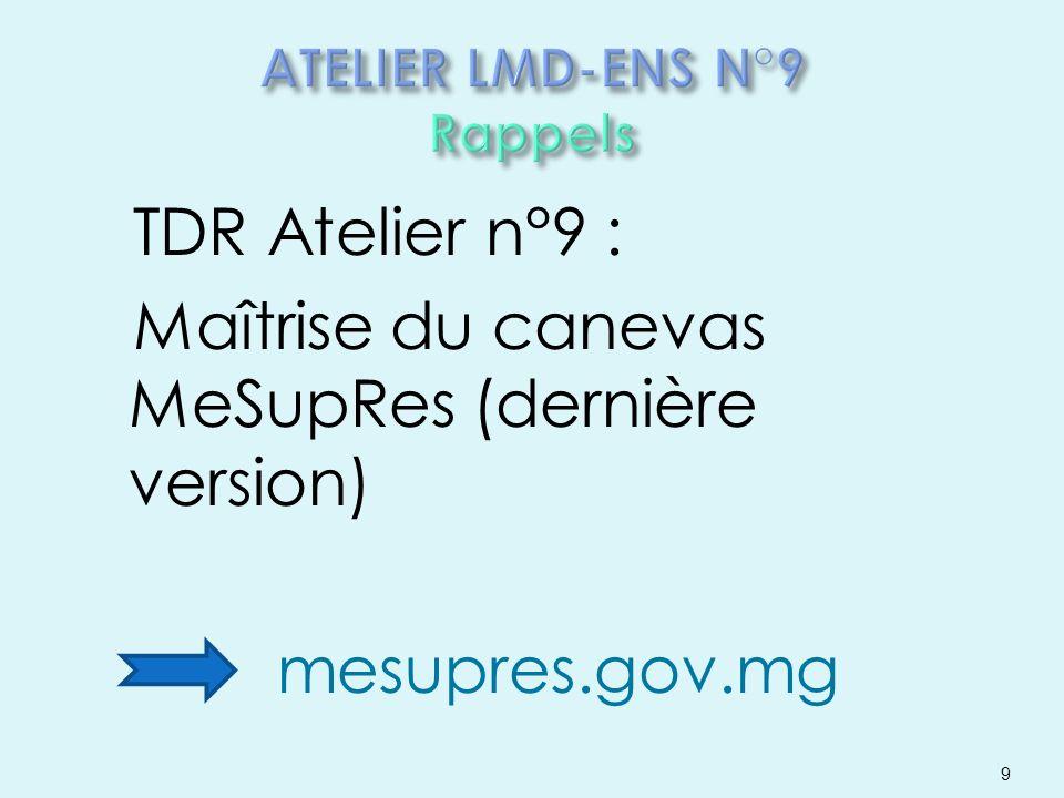 TDR Atelier n°9 : Maîtrise du canevas MeSupRes (dernière version) mesupres.gov.mg 9