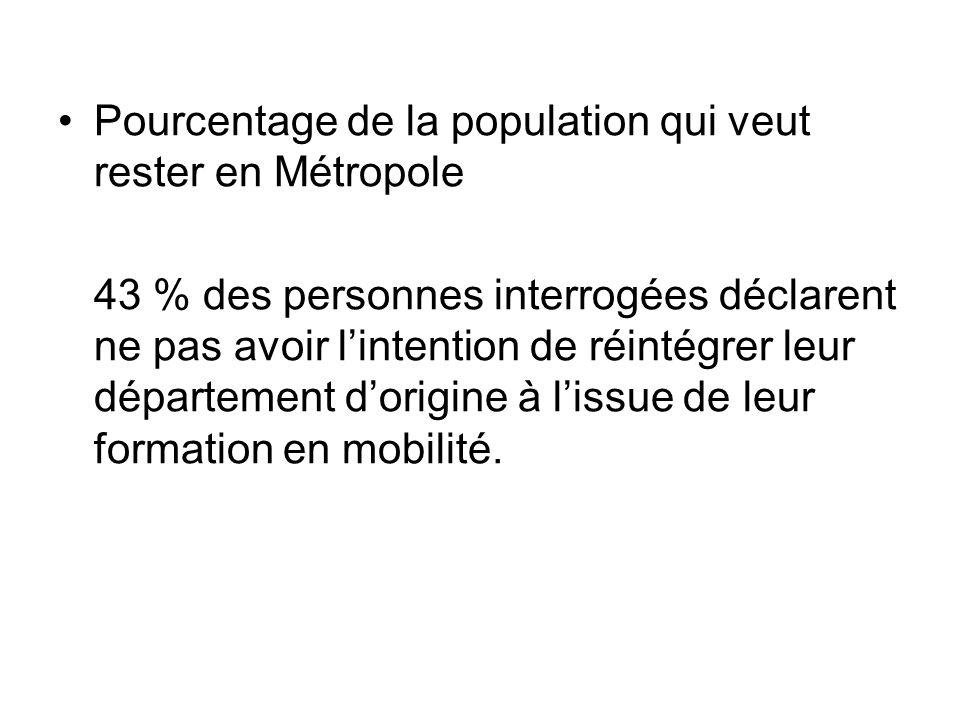 Pourcentage de la population qui veut rester en Métropole 43 % des personnes interrogées déclarent ne pas avoir lintention de réintégrer leur départem