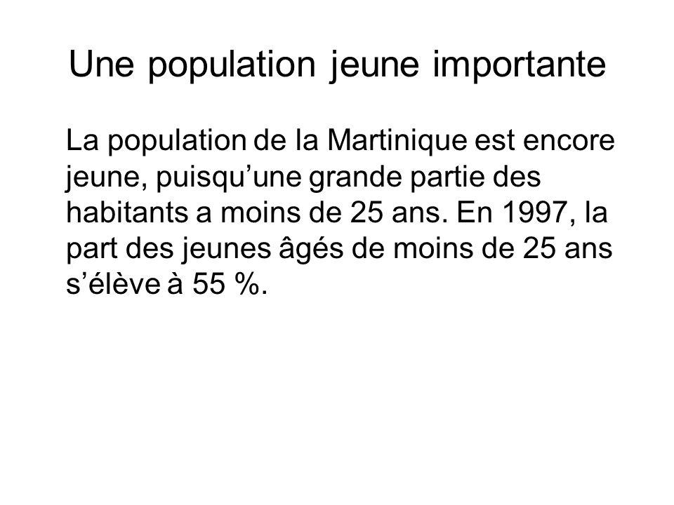 Une population jeune importante La population de la Martinique est encore jeune, puisquune grande partie des habitants a moins de 25 ans. En 1997, la