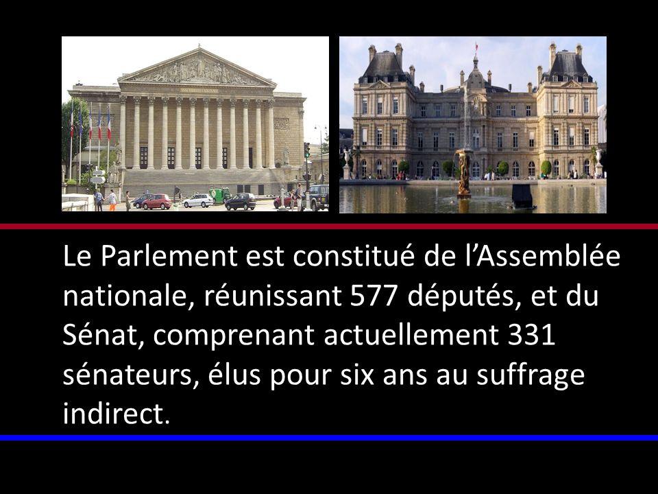 Le Parlement est constitué de lAssemblée nationale, réunissant 577 députés, et du Sénat, comprenant actuellement 331 sénateurs, élus pour six ans au s