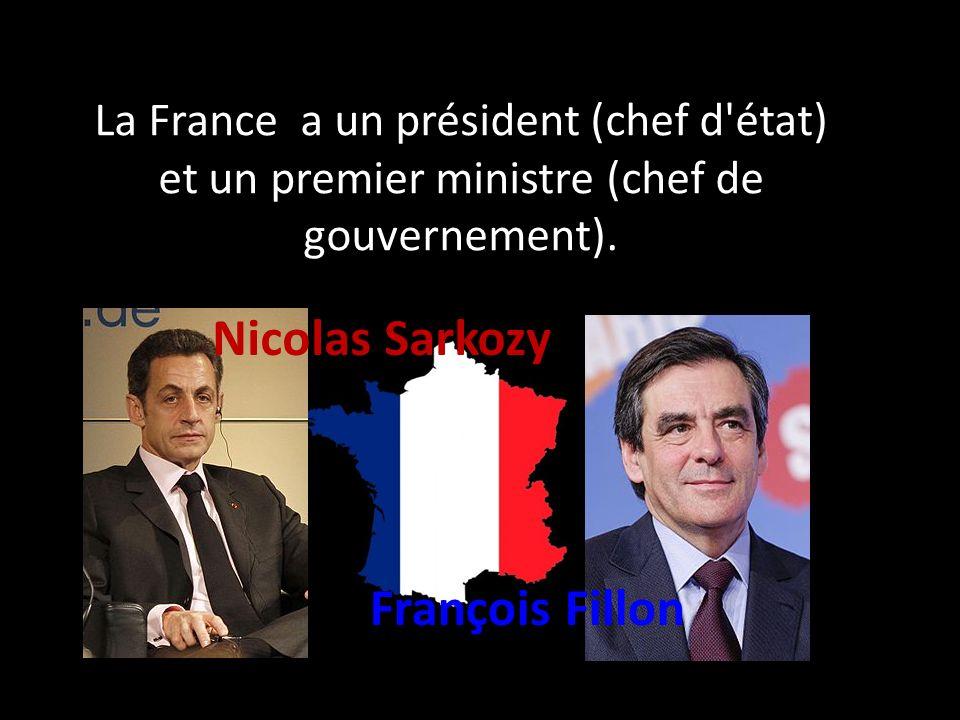 La France a un président (chef d'état) et un premier ministre (chef de gouvernement). Nicolas Sarkozy François Fillon