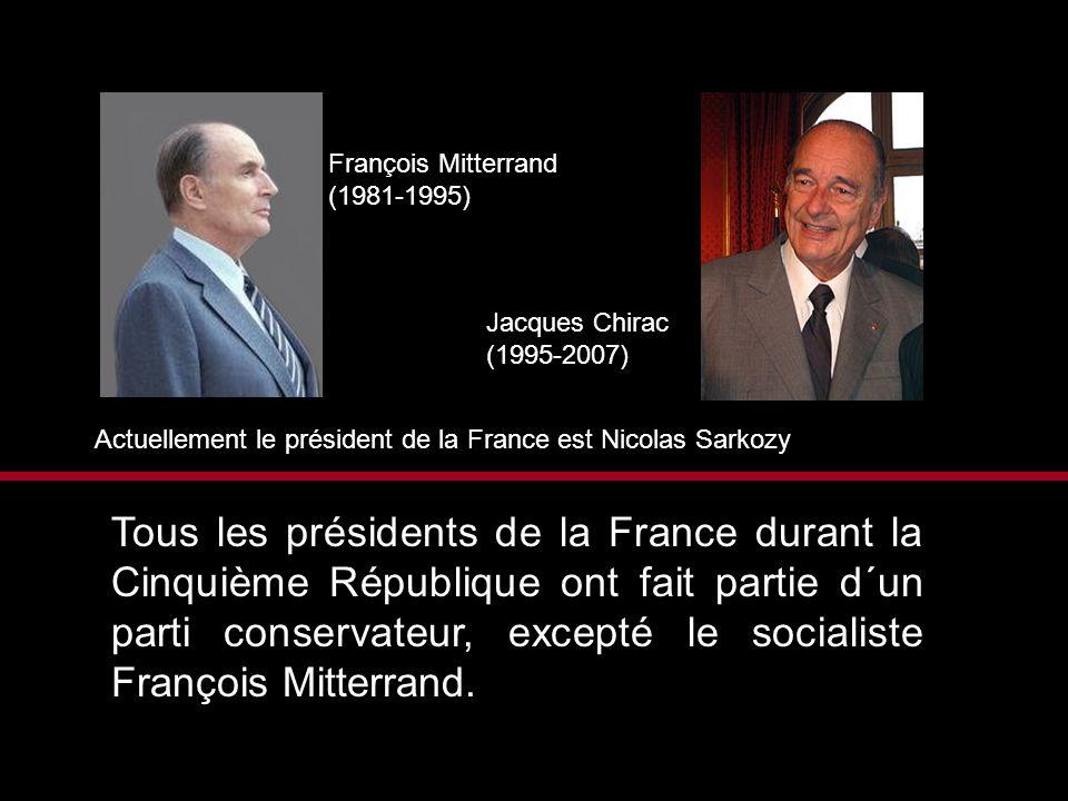François Mitterrand (1981-1995) Jacques Chirac (1995-2007) Actuellement le président de la France est Nicolas Sarkozy Tous les présidents de la France