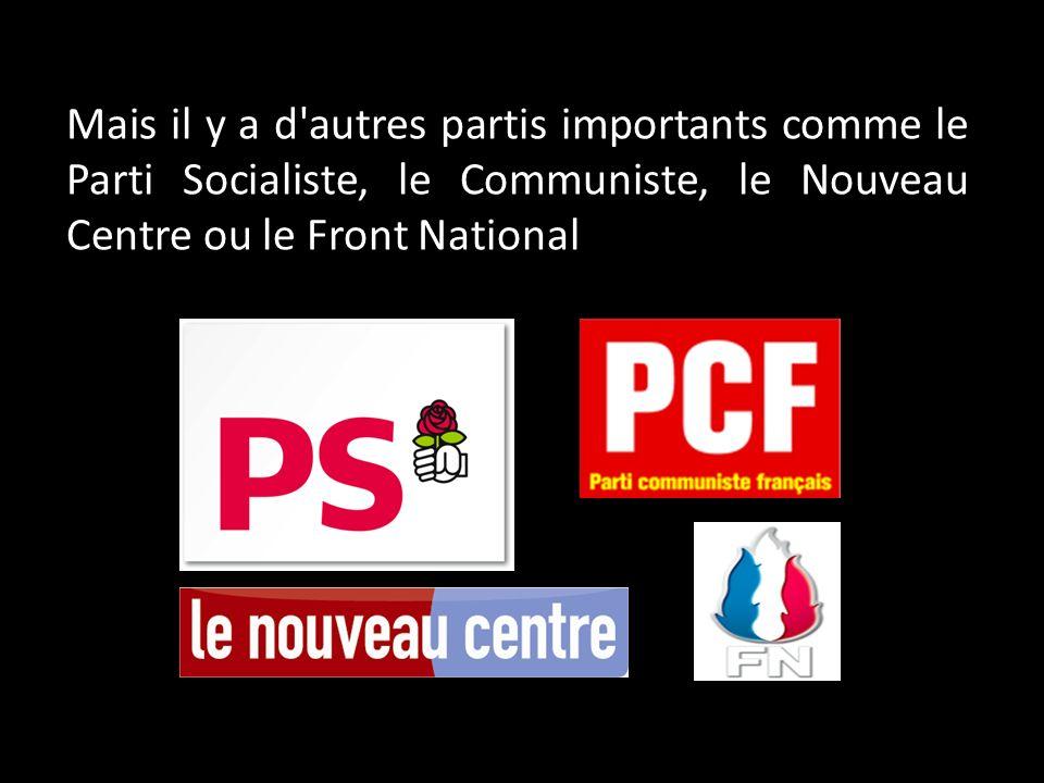 Mais il y a d'autres partis importants comme le Parti Socialiste, le Communiste, le Nouveau Centre ou le Front National