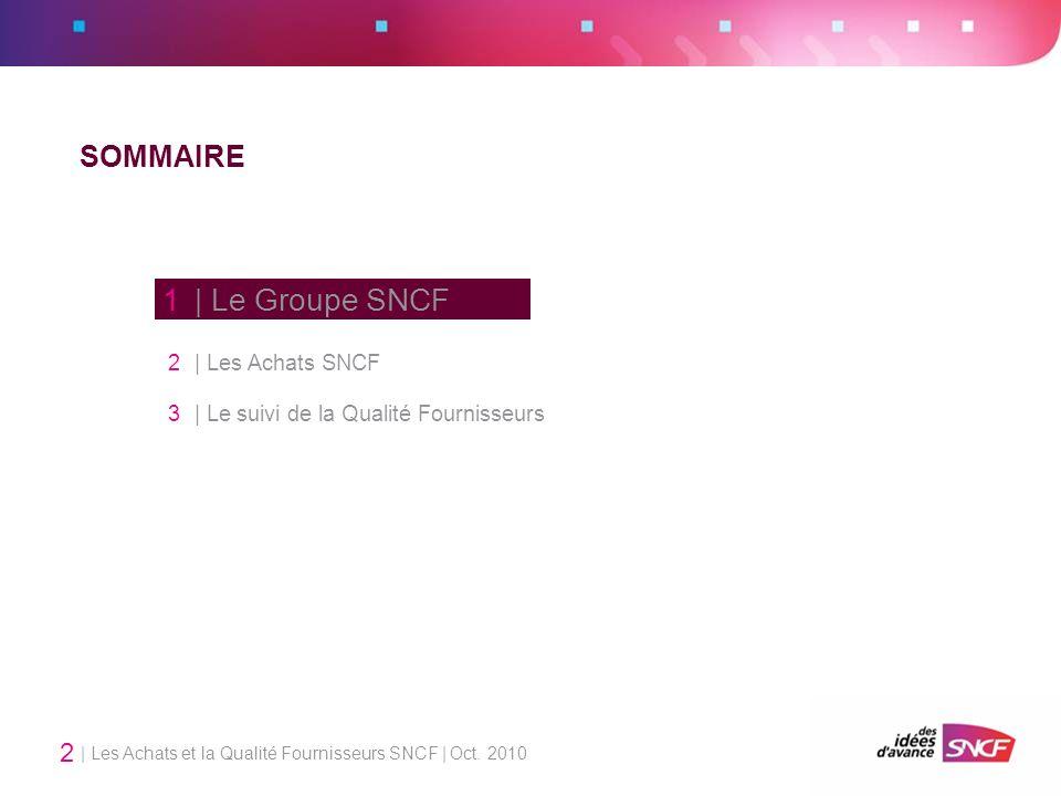 | Les Achats et la Qualité Fournisseurs SNCF | Oct. 2010 2 SOMMAIRE 1 | Le Groupe SNCF 2 | Les Achats SNCF 3 | Le suivi de la Qualité Fournisseurs