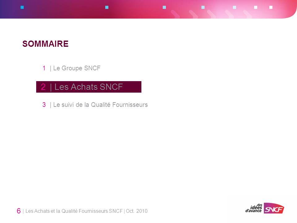 | Les Achats et la Qualité Fournisseurs SNCF | Oct. 2010 6 SOMMAIRE 1 | Le Groupe SNCF 2 | Les Achats SNCF 3 | Le suivi de la Qualité Fournisseurs