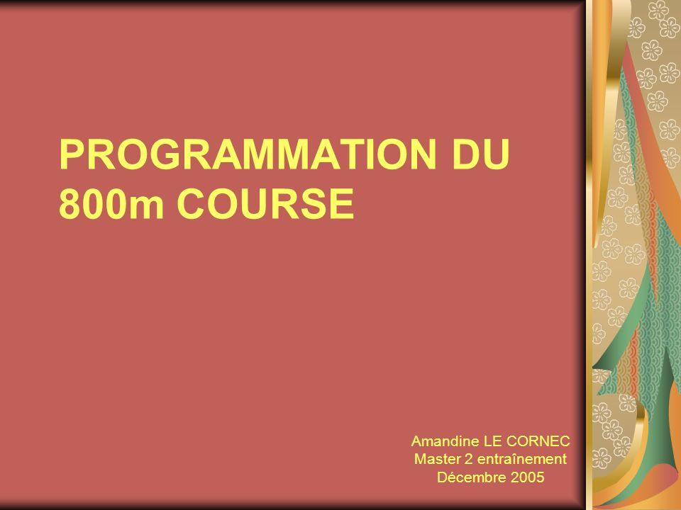 PROGRAMMATION DU 800m COURSE Amandine LE CORNEC Master 2 entraînement Décembre 2005