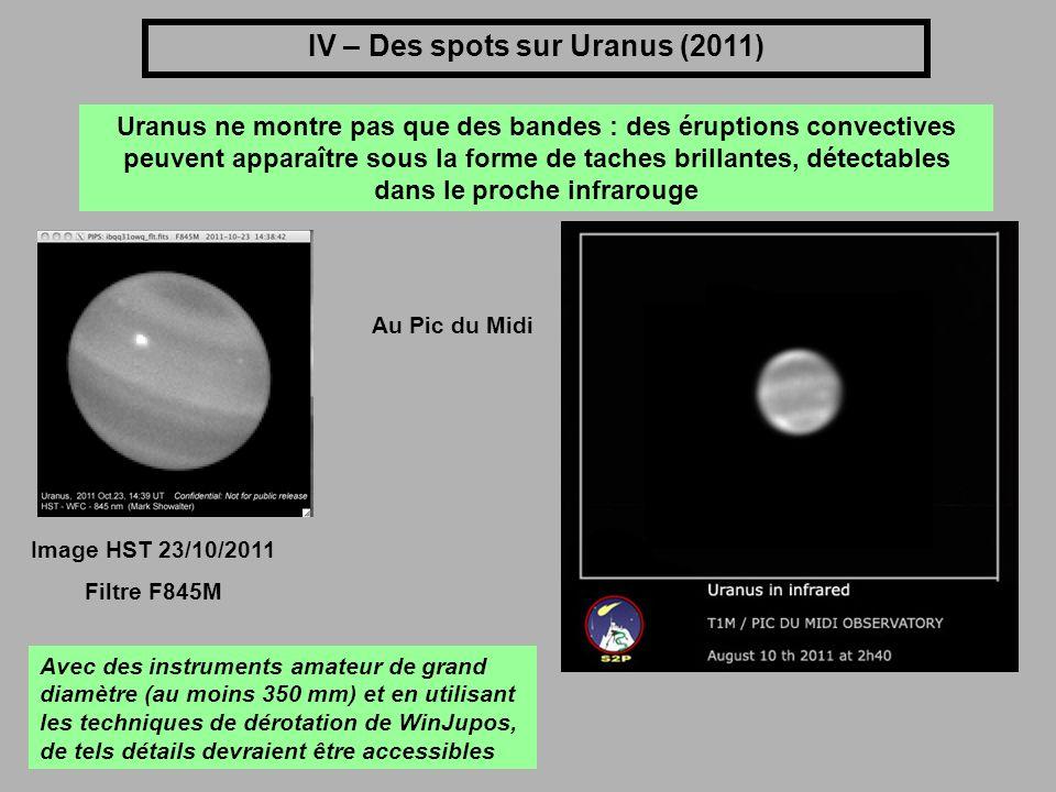 IV – Des spots sur Uranus (2011) Uranus ne montre pas que des bandes : des éruptions convectives peuvent apparaître sous la forme de taches brillantes