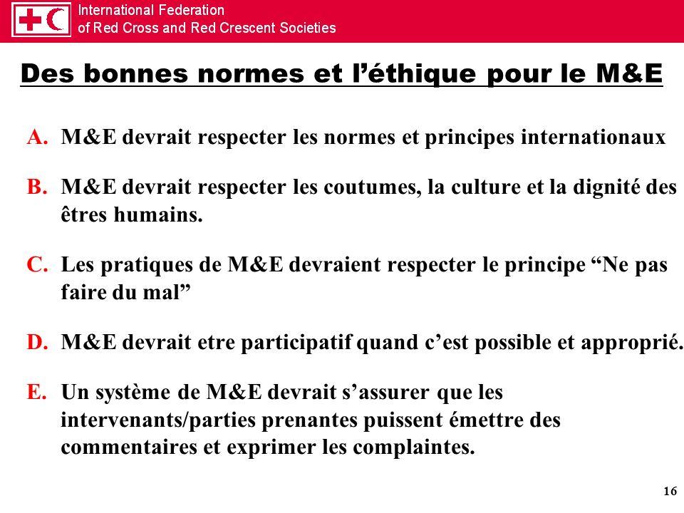 16 Des bonnes normes et léthique pour le M&E A.M&E devrait respecter les normes et principes internationaux B.M&E devrait respecter les coutumes, la c