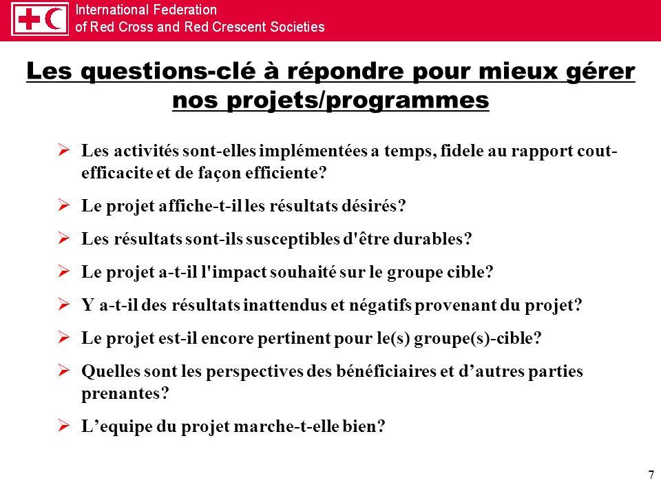 7 Les questions-clé à répondre pour mieux gérer nos projets/programmes Les activités sont-elles implémentées a temps, fidele au rapport cout- efficaci