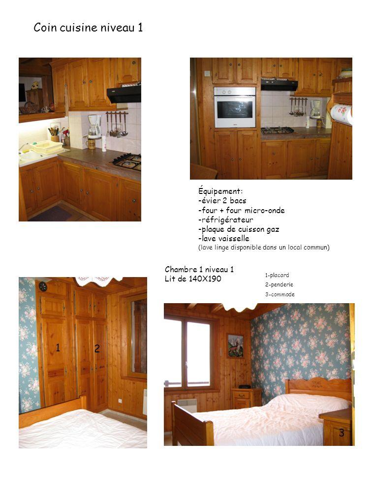 Coin cuisine niveau 1 Équipement: -évier 2 bacs -four + four micro-onde -réfrigérateur -plaque de cuisson gaz -lave vaisselle (lave linge disponible d