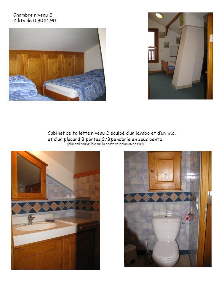 Chambre niveau 2 2 lits de 0.90X1.90 Cabinet de toilette niveau 2 équipé dun lavabo et dun w.c. et dun placard 3 portes,2/3 penderie en sous pente (pl