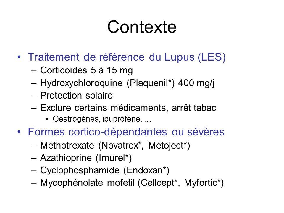 Contexte Traitement de référence du Lupus (LES) –Corticoïdes 5 à 15 mg –Hydroxychloroquine (Plaquenil*) 400 mg/j –Protection solaire –Exclure certains