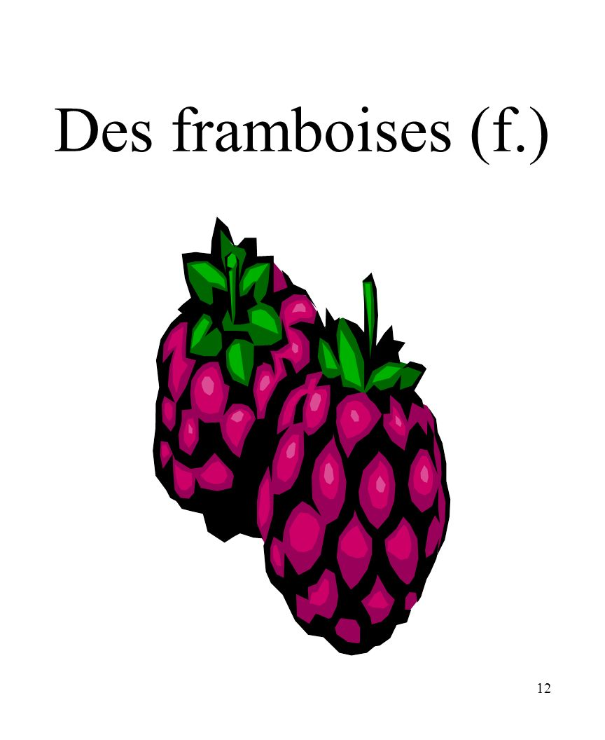 12 Des framboises (f.)