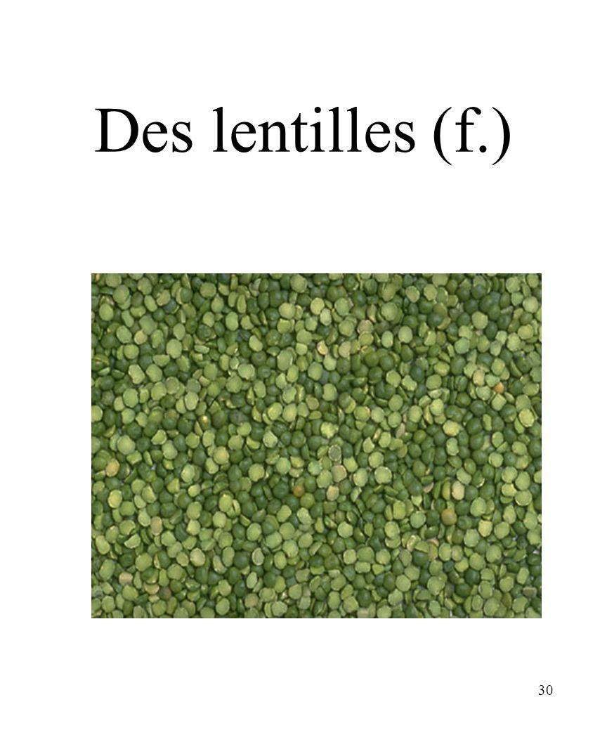 30 Des lentilles (f.)