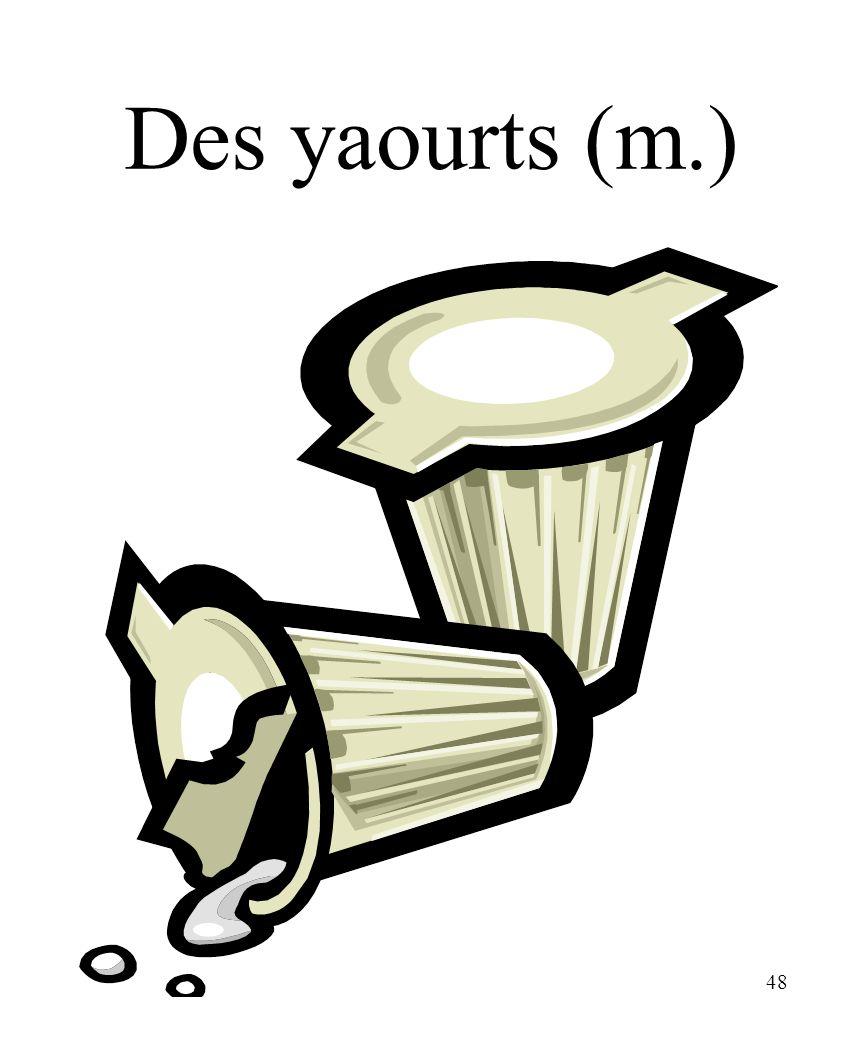 48 Des yaourts (m.)