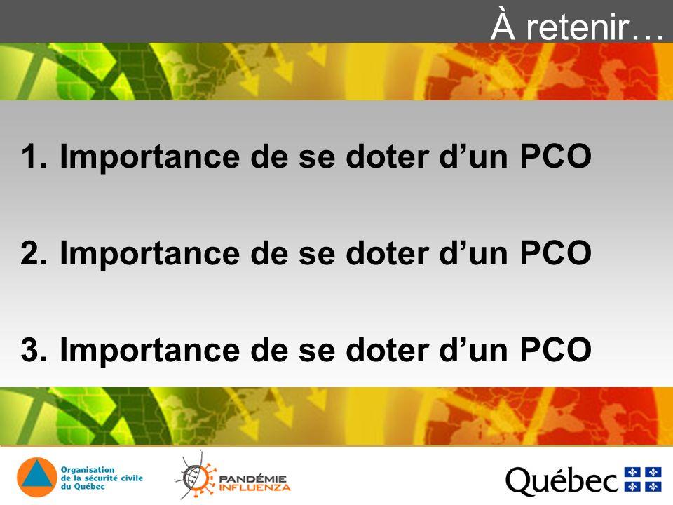 À retenir… 1.Importance de se doter dun PCO 2.Importance de se doter dun PCO 3.Importance de se doter dun PCO