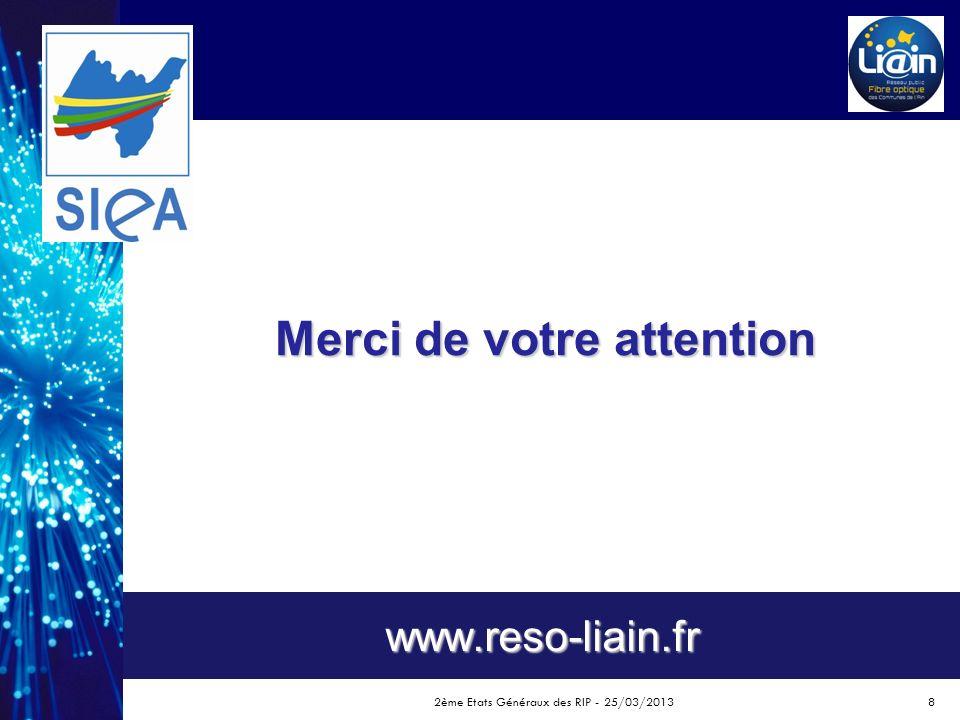 Merci de votre attention www.reso-liain.fr 2ème Etats Généraux des RIP - 25/03/20138