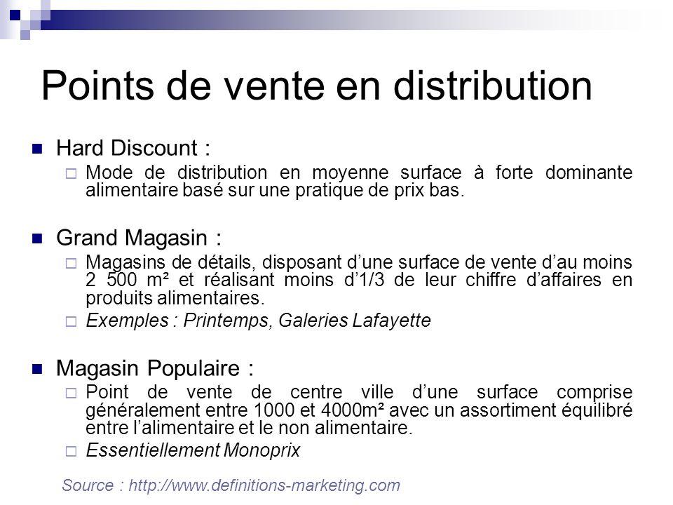 Hard Discount : Mode de distribution en moyenne surface à forte dominante alimentaire basé sur une pratique de prix bas. Grand Magasin : Magasins de d